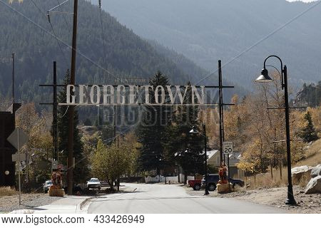 Georgetown, Co, Usa - October 8, 2020: Large Metal Historic Georgetown Sign Over Brownell St On Way