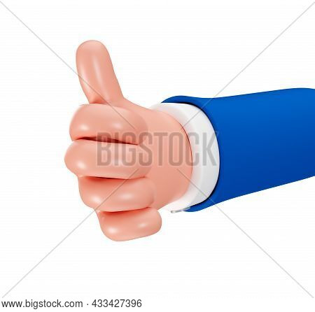 Thumbs Up Gesture Isolated On A White Background, 3d Render. The Cartoon Hand Of A Businessman Shows