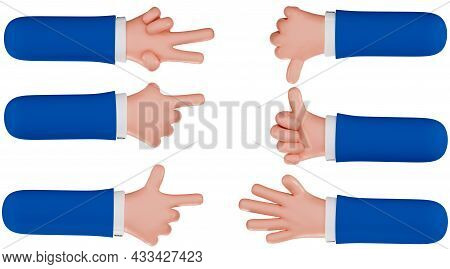 Set Of Hands With Gestures, Isolated On A White Background, 3d Render. Cartoon Hands Of A Businessma