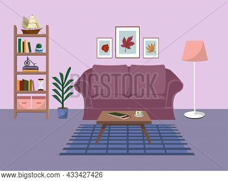 Living Room Interior With Comfortable Sofa, Bookcase, House Plants And Home Decorations. Flat Cartoo