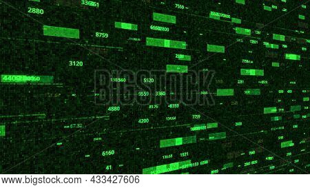 Animation With Stream Of Numbers In Matrix Space. Motion. Numerical Stream On Background Of Electron