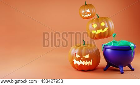 Banner For Halloween, 3d Rendering. Happy Background With Pumpkins And A Witch\'s Cauldron With Gree