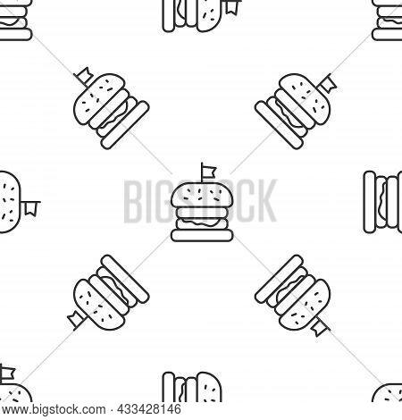 Grey Line Burger Icon Isolated Seamless Pattern On White Background. Hamburger Icon. Cheeseburger Sa