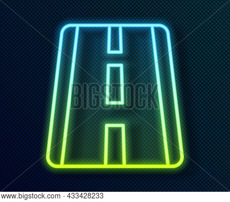 Glowing Neon Line Airport Runway For Taking Off And Landing Aircrafts Icon Isolated On Black Backgro