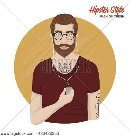 Hipster Style Template With Man Shirt Beard Mustache Tatoos Glasses Headphones Isolated Vector Illus