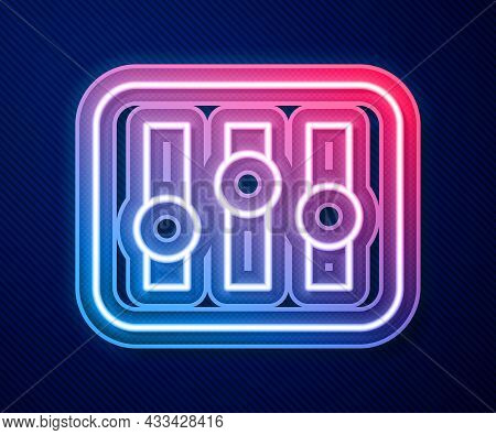 Glowing Neon Line Sound Mixer Controller Icon Isolated On Blue Background. Dj Equipment Slider Butto