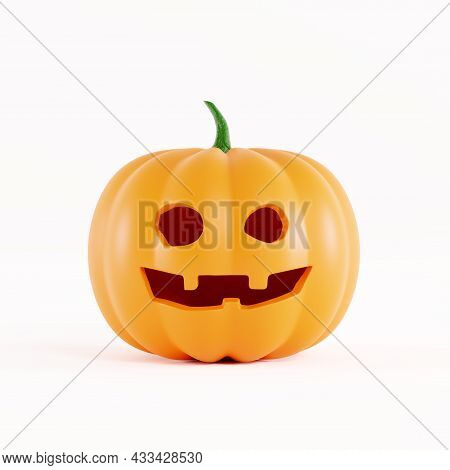 Pumpkin For Halloween With A Funny Smiling Face, On A White Background. Jack O Lantern Halloween Pum