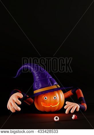 Creepy Jack O Lantern Pumpkin With Eyeball. Funny Poster For A Halloween Party. Pumpkin With Human H