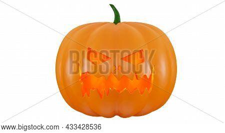 Pumpkin Isolated On A White Background, 3d Render. Scary Jack O Lantern Halloween Pumpkin. Halloween