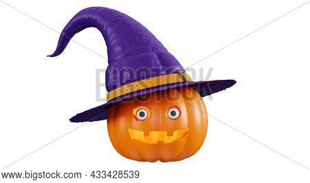 Halloween Pumpkin With A Funny Smiling Face, Isolated On A White Background. Pumpkin With Eyes In A