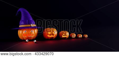 Scary Halloween Greeting Card, 3d Render. Pumpkin With Human Eyeballs. Halloween Pumpkin With A Witc