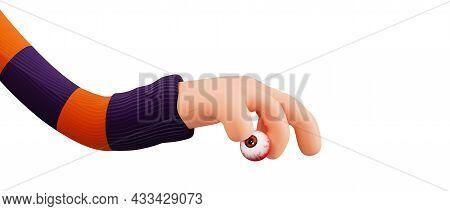 Cartoon Hand Holding A Realistic Eyeball, 3d Render. Funny 3d Illustration For Halloween In Cartoon