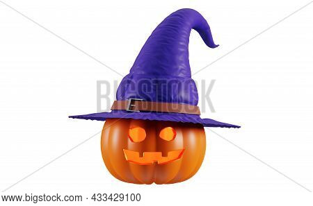 Halloween Pumpkin In A Witch Hat, Isolated On A White Background. Jack O Lantern Pumpkin With Witch