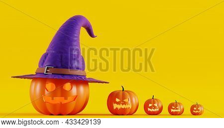 Halloween Pumpkins In A Witch Hat, On A Yellow Background. Jack O Lantern Pumpkin With Witch Hat, 3d