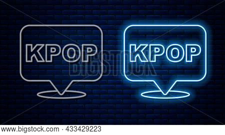 Glowing Neon Line K-pop Icon Isolated On Brick Wall Background. Korean Popular Music Style. Vector