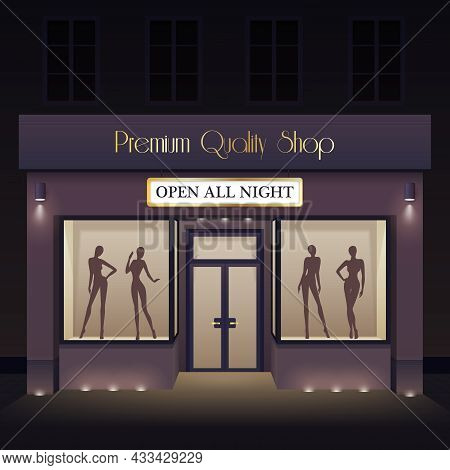 Beauty Store Front View Template With Door Windows Mannequin Silhouettes At Night Vector Illustratio
