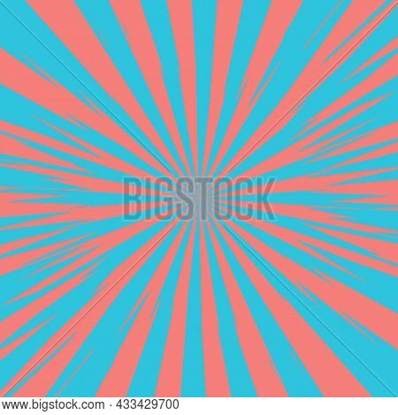 Pop Art Radial Colorful Comics Book Magazine Cover. Striped Blue And Pink Digital Background. Cartoo