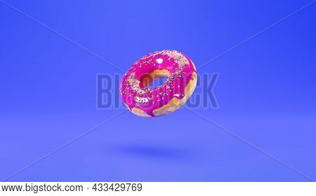 Donut With Pink Icing On A Blue Background, 3d Illustration. Delicious Donut On A Blue Background, A