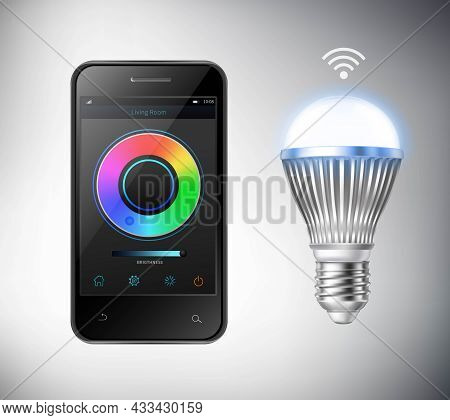 Realistic Smartphone And Smart Led Lightbulb Isolated Vector Illustration