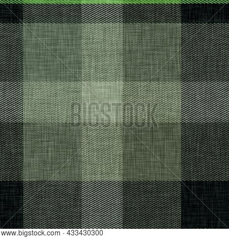 Traditional Gingham Plaid Woven Linen Texture. Seamless Winter Style Weave Checkered Effect. British