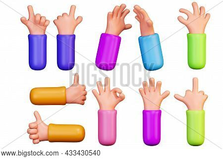 Set Of Cartoon Hands With Gestures. Hand Gestures In A Funny Style, 3d Rendering Isolated On A White