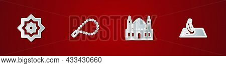 Set Octagonal Star, Rosary Beads Religion, Muslim Mosque And Man Prays Icon. Vector