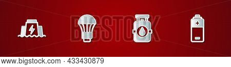 Set Hydroelectric Dam, Led Light Bulb, Propane Gas Tank And Battery Icon. Vector
