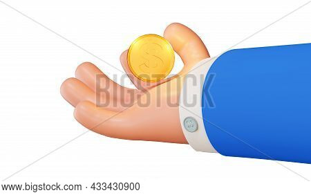 Cartoon Character Businessman Holding A Coin, 3d Rendering. Concept Of A Bank, Business And Savings.