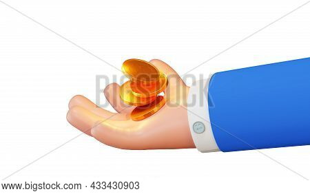 Cartoon Character Businessman Holding Coins, 3d Rendering. Concept Of A Bank, Business And Savings.