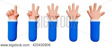Set Of Cartoon Hands Counting From One To Five, 3d Illustration Isolated On A White Background. Hand