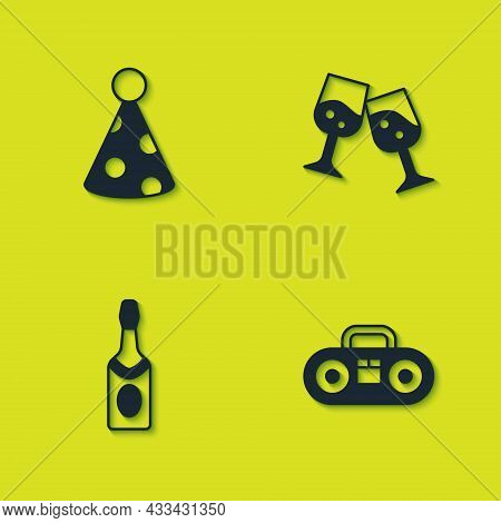 Set Party Hat, Home Stereo With Two Speakers, Champagne Bottle And Glass Of Champagne Icon. Vector