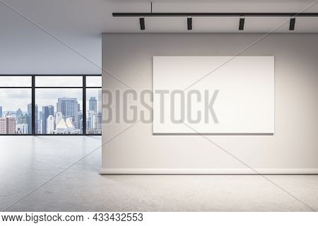 Blank Wall With Mock Up Poster In Modern Office Interior With Window And City View. 3d Rendering