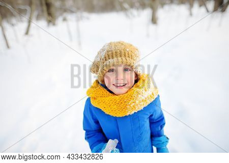 Little Boy Having Fun Playing With Icicle In Forest On Sunny Winter Day. Kid Dressed In A Warm Cloth