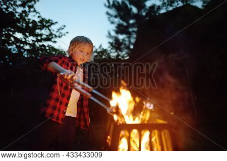Cute Little Boy Is Burning A Bonfire On A Summer Evening In The Backyard. Child Puts Firewood In A F