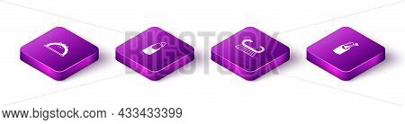 Set Isometric Manicure Lamp, Broken Nail, Pedicure Brush Or Grater And Nail Manicure Icon. Vector