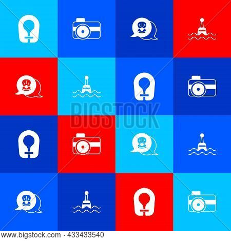 Set Life Jacket, Photo Camera For Diver, Scallop Sea Shell And Floating Buoy Icon. Vector