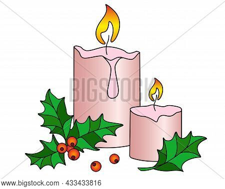 Candles And Holly - Vector Full Color Illustration. Pair Of Candles And Holly Evergreen Symbol Of Ch