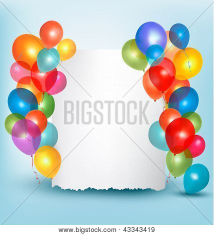Holiday Balloons Frame Composition With Space For Your Text. Vector Illustration.