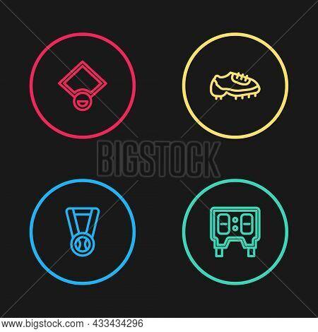 Set Line Medal With Baseball Ball, Baseball Mechanical Scoreboard, Boot And Field Icon. Vector