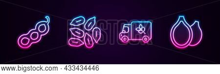 Set Line Green Peas, Seed, Flour Truck And Pumpkin Seeds. Glowing Neon Icon. Vector