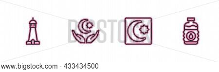 Set Line Mosque Tower Or Minaret, Star And Crescent, And Bottle Of Water Icon. Vector