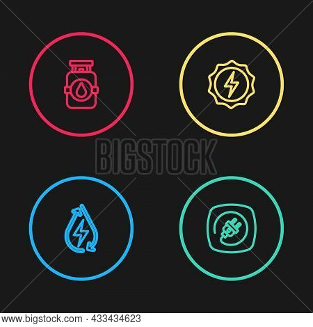 Set Line Water Energy, Electric Plug, Lightning Bolt And Propane Gas Tank Icon. Vector