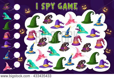 Kids Spy Game Wizard And Witch Hats Kids Riddle. Vector Maze, Cartoon Boardgame With Halloween Magic