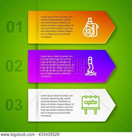 Set Line No Electronic Cigarette, Cigarette Butt And Smoking. Business Infographic Template. Vector