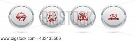 Set Line No Smoking, Throat Cancer, Disease Lungs And Heart Disease With. Silver Circle Button. Vect