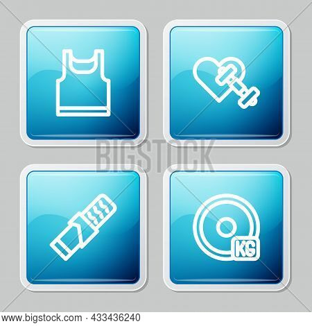 Set Line Sleeveless T-shirt, Dumbbell With Heart, Protein Sport Bar And Weight Plate Icon. Vector