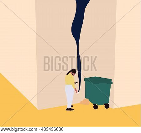 Smoking People. Woman Smoking Cigarette On Street Near Garbage Cartoon Vector. Offensive Or Abusive