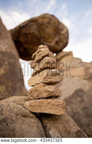 Cairn Below Balanced Rock In Big Bend National Park