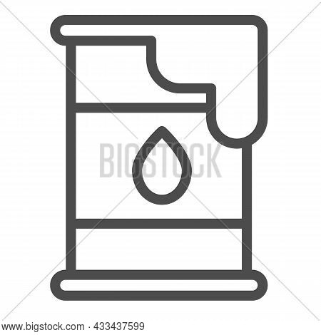 Oil Barrel, Cask And Drop Of Oil, Petrol Line Icon, Oil Industry Concept, Fuel Vector Sign On White