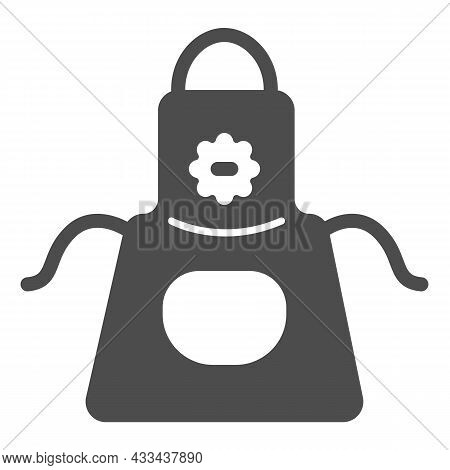 Apron With Flower And Pocket Solid Icon, Gardening Concept, Gardening Pinafore Vector Sign On White